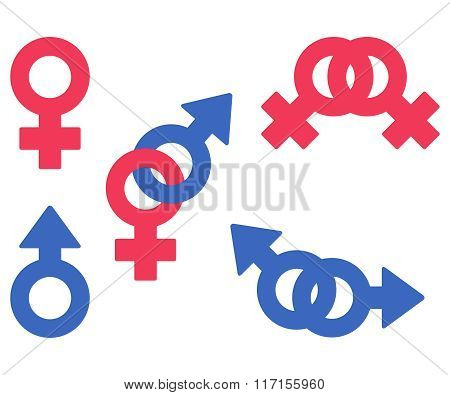 Isolated Vector Symbols Of Woman, Man, Lesbian, Gay, Heterosexual Couples