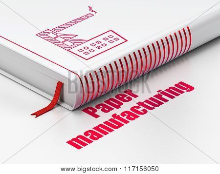 Industry concept: book Industry Building, Paper Manufacturing on white background