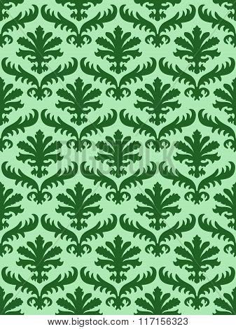 Vector Colorful Damask Seamless Floral Pattern Background. Color Trend Mint