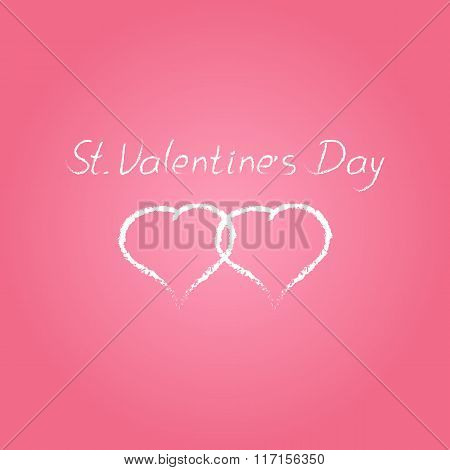 Vector Hand Drawn  St. Valentine's Day Text Card With Two White Hearts  Isolated On Pink Background