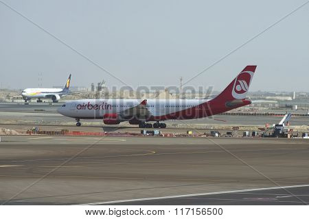Airbus A330 (D-ALPD) company Air Berlin on the tarmac of Abu Dhabi airport