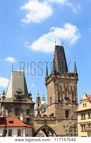 Lesser Town Bridge Tower And Judith's Tower Of Charles Bridge, Prague