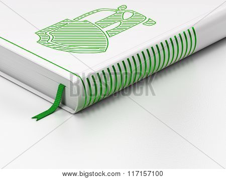 Insurance concept: closed book, Car And Shield on white background