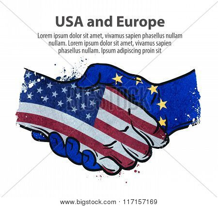 handshake. United States and Europe. vector illustration