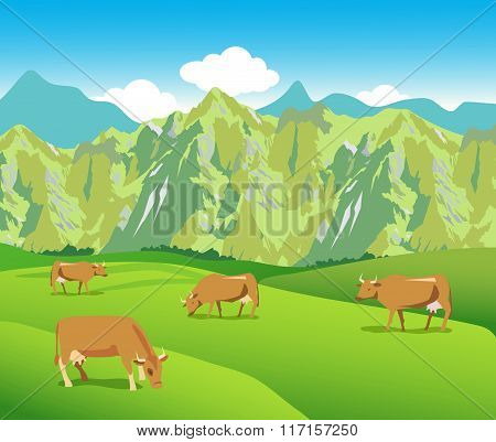 Cows On The Alpine Meadows. Vector Picture. Mountains And Green Valley. Background For Label, Sticker, Packing, Web. Vector Picture. Alpine Meadows Weather. Alpine Meadows Terrain.