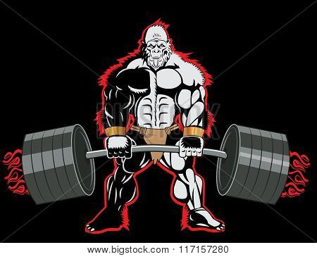 Bodybuilder Ape Mascot Character With A Barbell In His Hands. Label, Badge, T-Shirt Design, Fight Brutal Theme. Bodybuilder Meme. Bodybuilder Workout. Bodybuilder Poster. Powerlifter Poster.