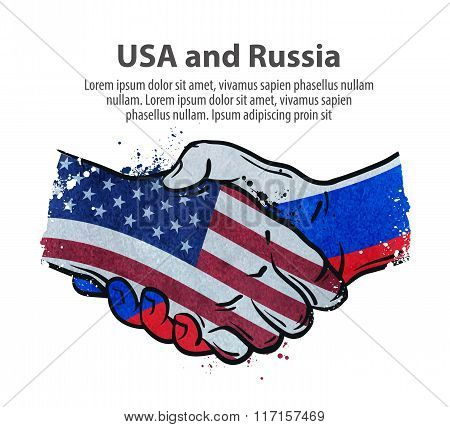 handshake. United States and Russia. vector illustration