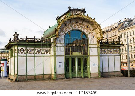 Vienna Austria - 31st January 2016: The outside of an Entrance to Karlsplatz U-bahn station in Vienna during the day.