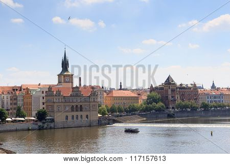 View From Charles Bridge Towards Old Town Prague
