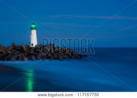 Santa Cruz Breakwater Lighthouse in Santa Cruz, California at night