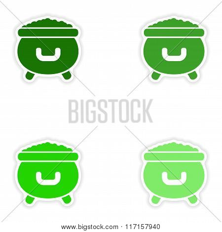concept stylish paper sticker on white background cauldron coins
