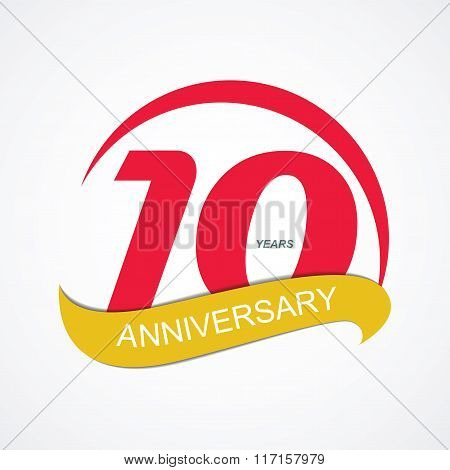 Template Logo 10 Anniversary Vector Illustration