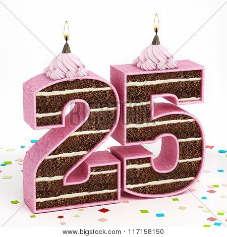 Number 25 Shaped Chocolate Birthday Cake With Lit Candle