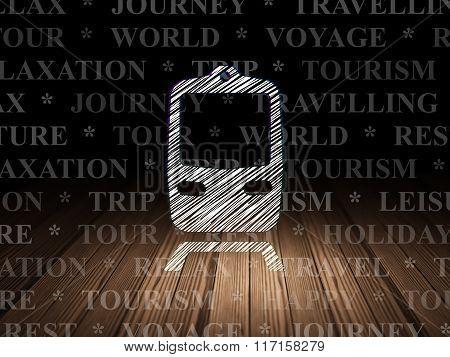 Travel concept: Train in grunge dark room