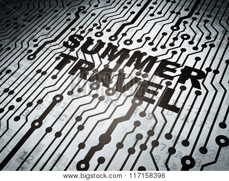 Vacation concept: circuit board with Summer Travel