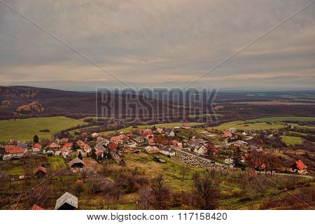 A Small Village In A Valley In Autumn. Podhradie, Topolcany, Slovakia