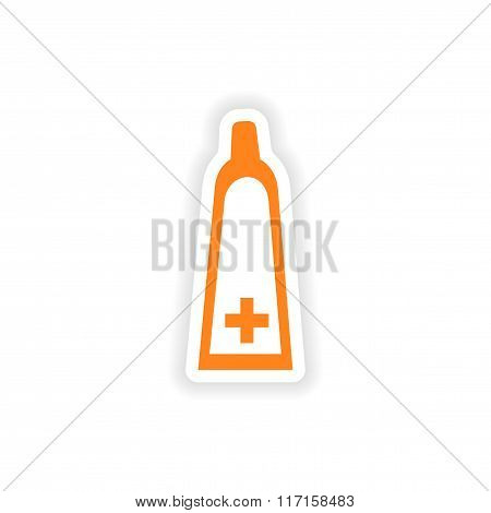 icon sticker realistic design on paper medical ointment