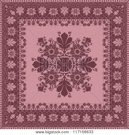 Vector Abstract Ethnic Shawl Floral Pattern Design For Background Or Wallpape