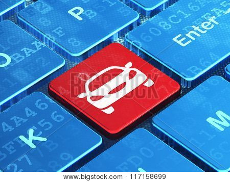 Travel concept: Car on computer keyboard background