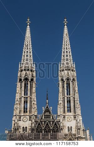 Towers On The Votive Church In Vienna