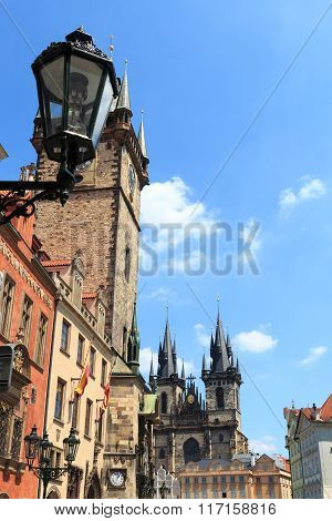 Lantern, Old Town City Hall And Church Of Our Lady Before Tyn In Prague