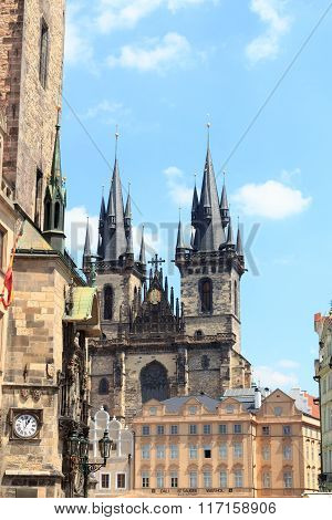 Old Town City Hall And Church Of Our Lady Before Tyn In Prague