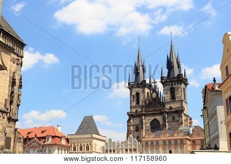 Church Of Our Lady Before Tyn And Old Town Square In Prague