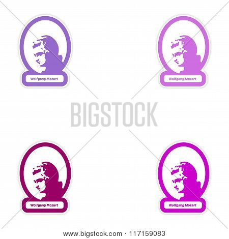 Set of paper stickers on white background Wolfgang Amadeus Mozart