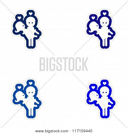 Set of paper stickers on white background man carries Woman