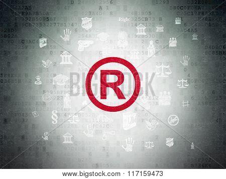 Law concept: Registered on Digital Paper background