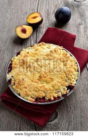 Fruit Pie With Plums, Top View