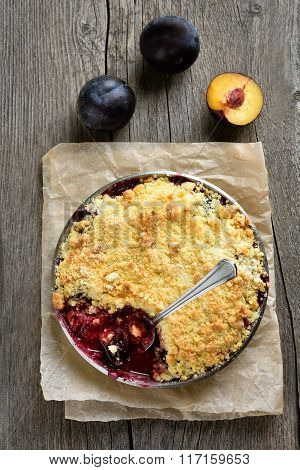 Fruit Pie With Fresh Plums