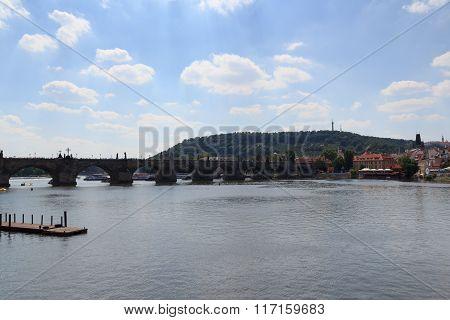 Charles Bridge And River Vltava In Prague