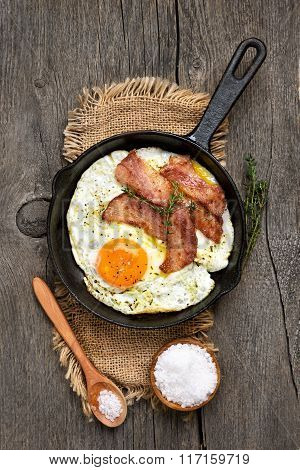 Fried Eggs And Bacon, Close Up View