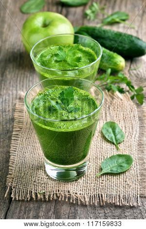 Green Smoothie Decorated With Mint
