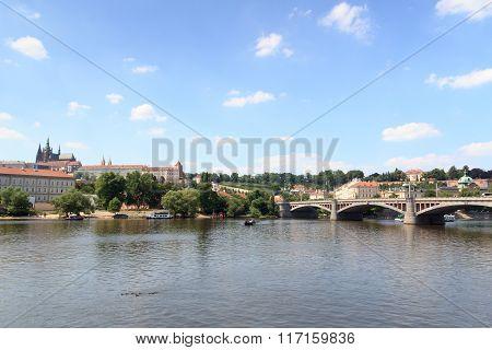 Prague Castle and Manes Bridge in Prague, Czech Republic