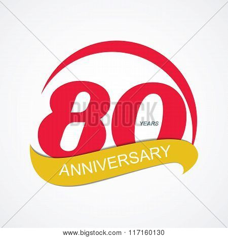 Template Logo 80 Anniversary Vector Illustration