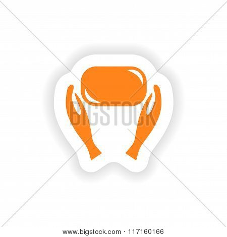 icon sticker realistic design on paper hand hygiene