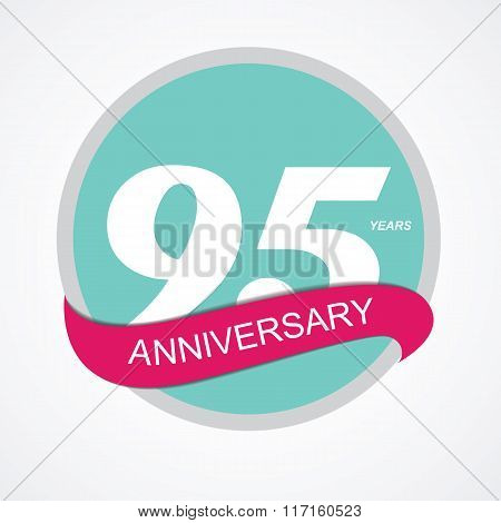 Template Logo 95 Anniversary Vector Illustration