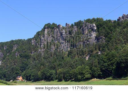 Bastei Rock Formation In Rathen, Saxon Switzerland