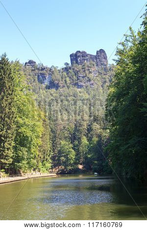 Reservoir Amselsee Rathen And Climbing Rock Lokomotive, Saxon Switzerland