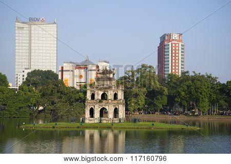 View of the temple of the Turtles at the Lake in the center of Hanoi, Vietnam