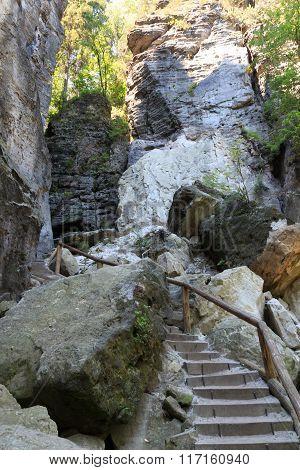 Hiking Path With Stairways To Canyon Schwedenlocher In Rathen, Saxon Switzerland