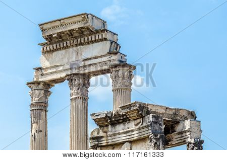 Ancient Roman Columns In Rome, Italy