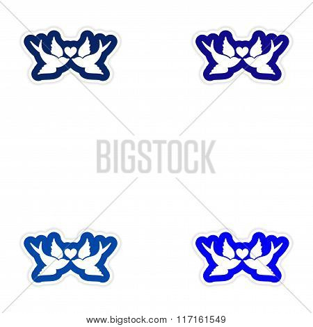 Set of paper stickers on white background birds heart