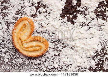 Cooking Sweet Cookies In Shape Of Heart On Wooden Table With Flour Powder.  Concept