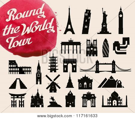 historic buildings of the world. set of icons, symbols