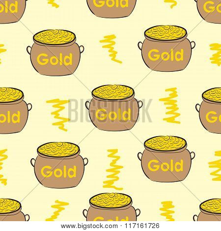 Seamless pots with gold