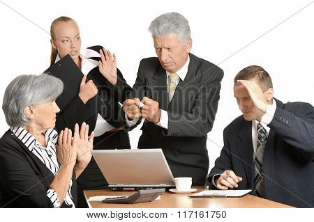 Businesspeople at work with laptop