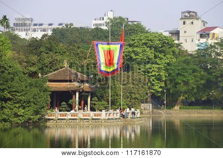 The temple on the lake in Central Hanoi. Vietnam
